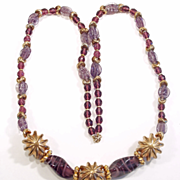Large Chunky Vintage Amethyst Glass Goldtone Necklace