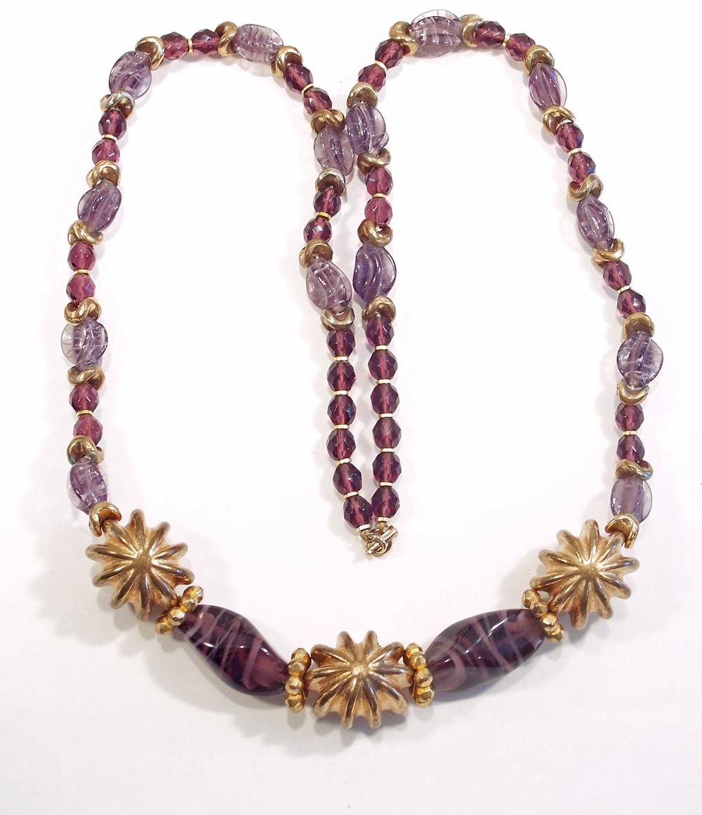 Large Chunky Vintage Amethyst Glass Goldtone Necklace