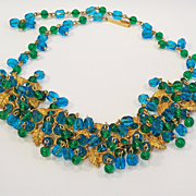 Hobe Aqua Blue & Green Glass Necklace