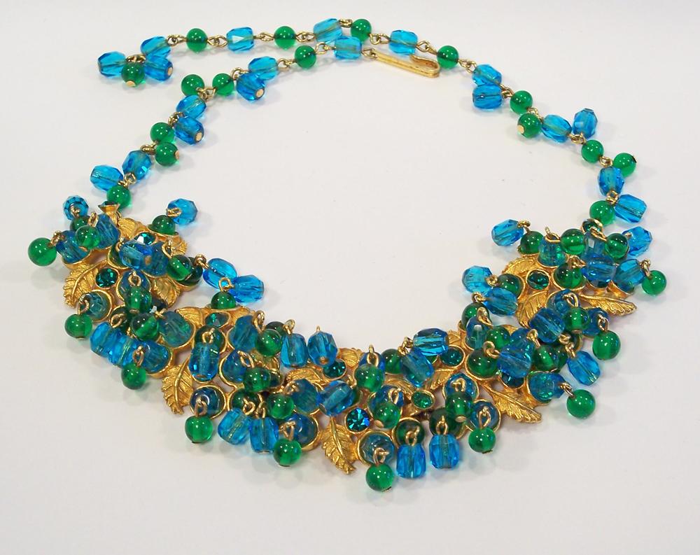 Hobe Aqua Blue & Green Glass Necklace