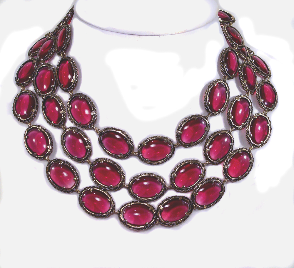 1964 Trifari Renaissance Necklace Cranberry Glass 52""