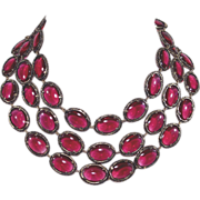 """1964 Trifari Renaissance Necklace Cranberry Glass 52"""""""