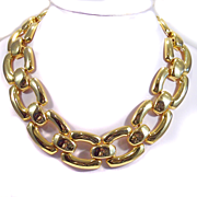 Bold Chunky Goldtone Link Necklace
