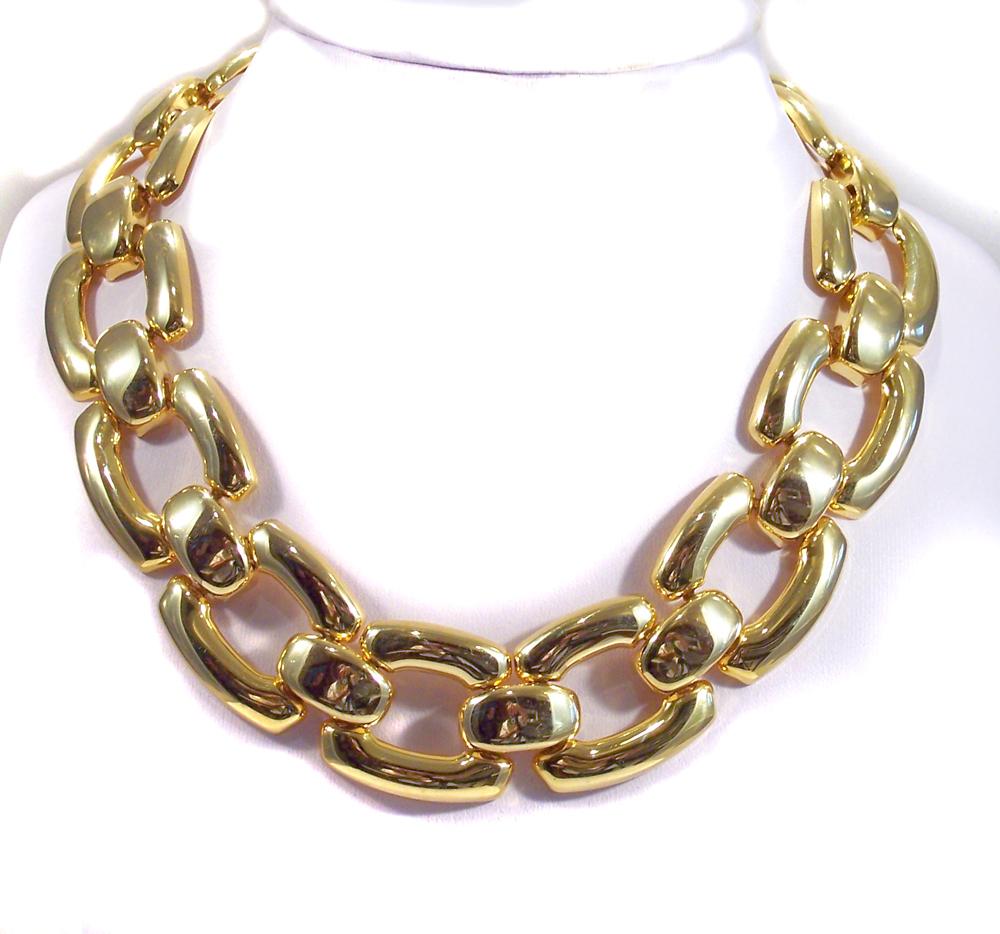 Bold Chunky Goldtone Link Necklace