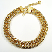 Vintage Chunky Gold Tone Link Choker Necklace