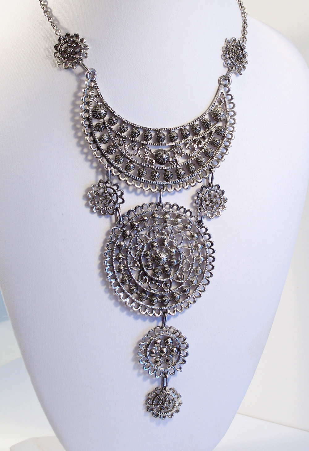 Vintage Silver Tone Cannetille Filigree Medallion Multi-tier  Necklace