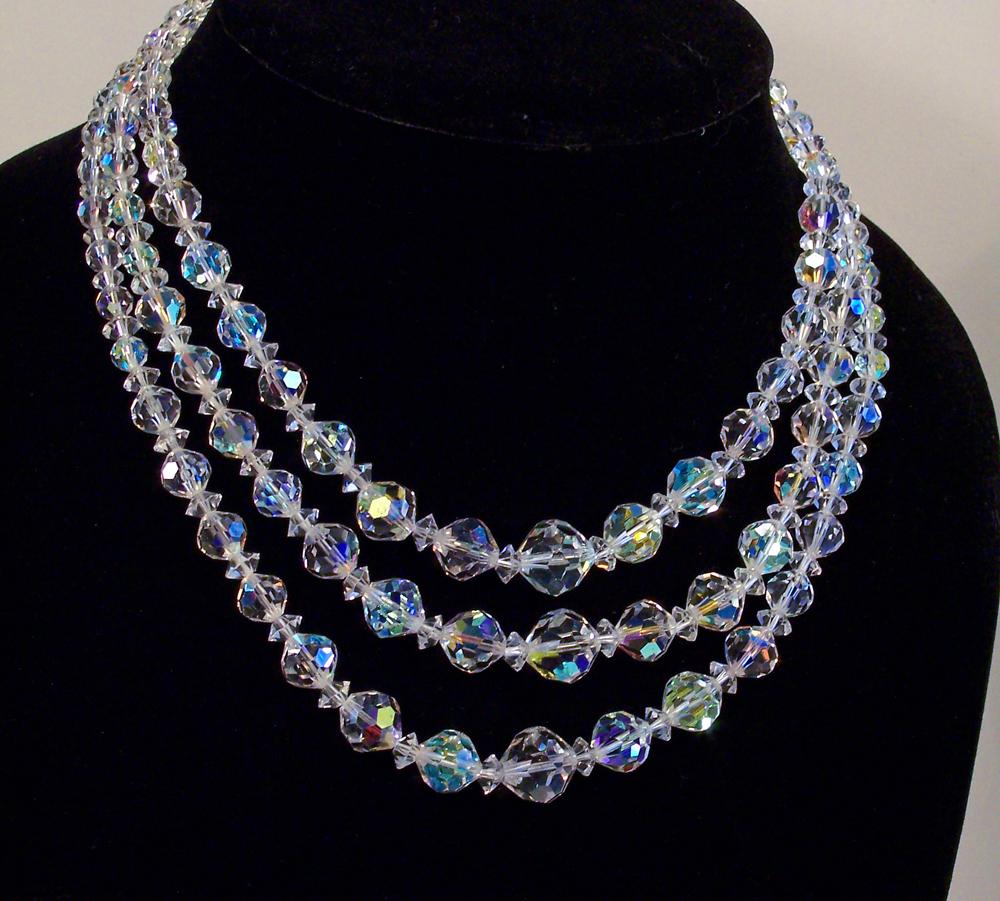 Vintage Triple Strand Laguna AB Crystal Necklace