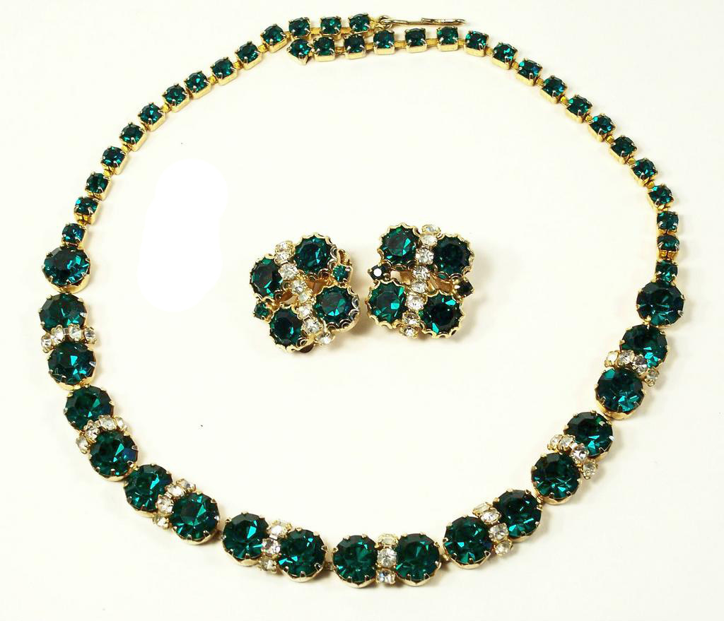 Vintage Green & Clear Rhinestone Necklace Earrings Demi