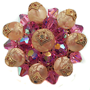 Vendome Pink Crystal & Peach Art Glass Brooch