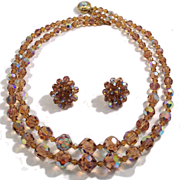 Vintage Light Smoked Topaz Double Strand Crystal Necklace Earrings Demi Parure