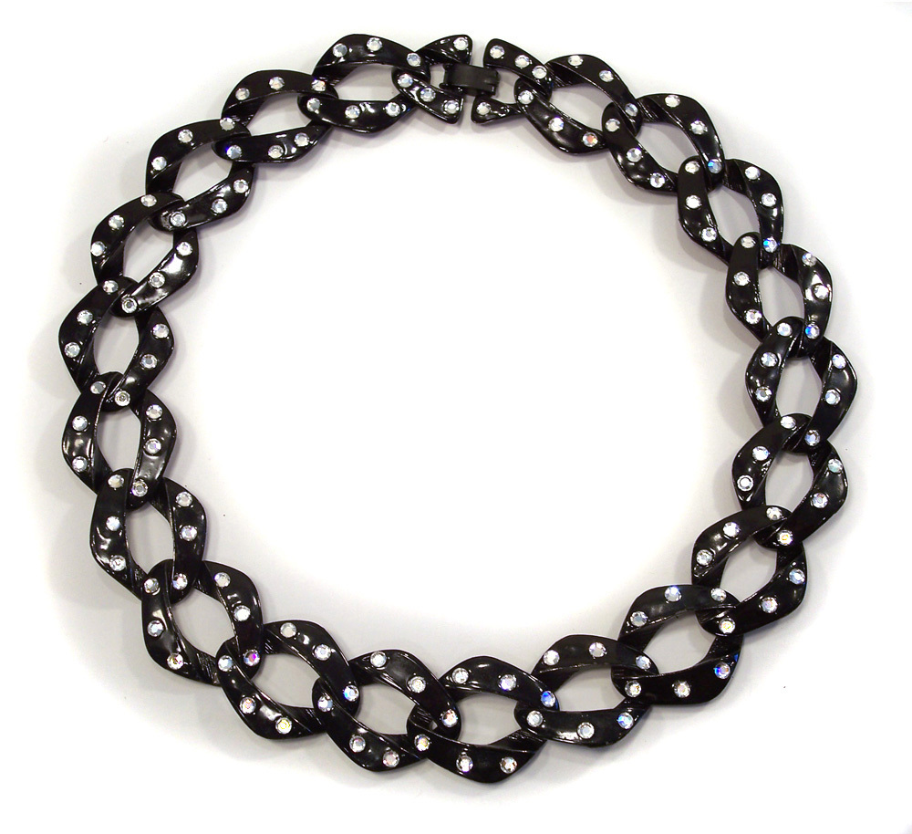 Vintage Japanned Black Enamel Rhinestone Chunky Link Chain Necklace