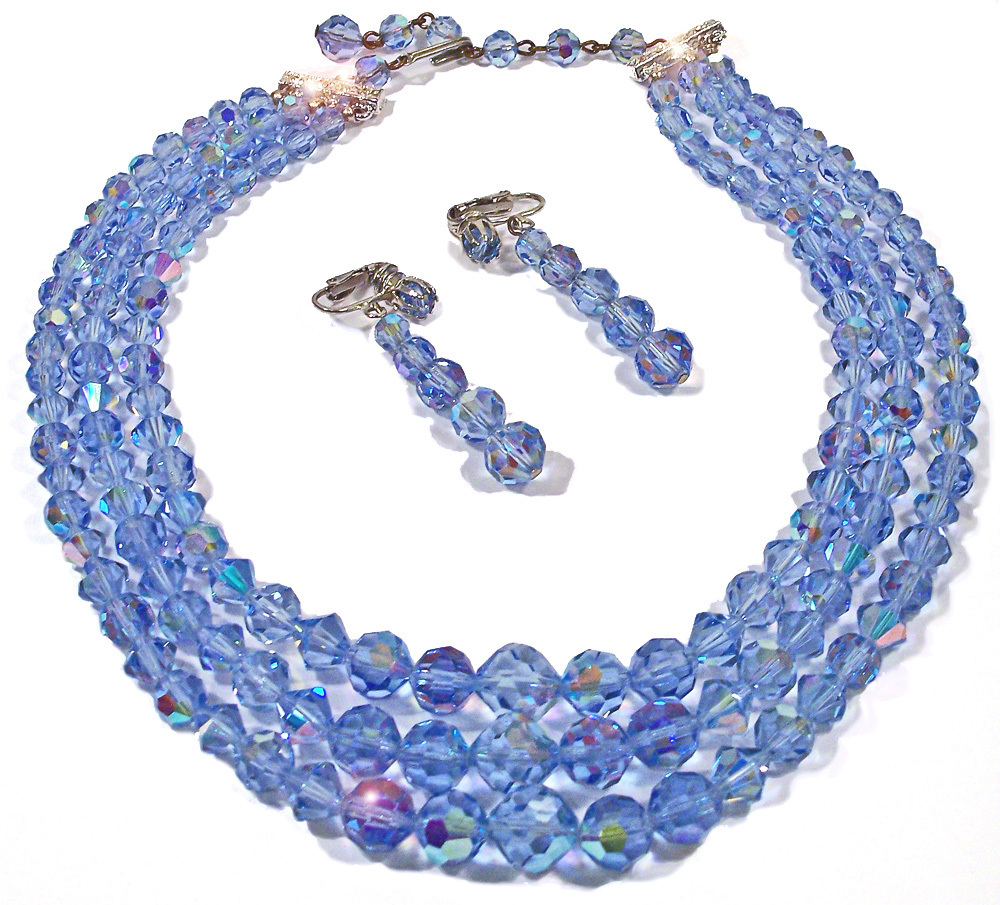 Vintage Blue Triple Swarovski Crystal Necklace Demi Parure