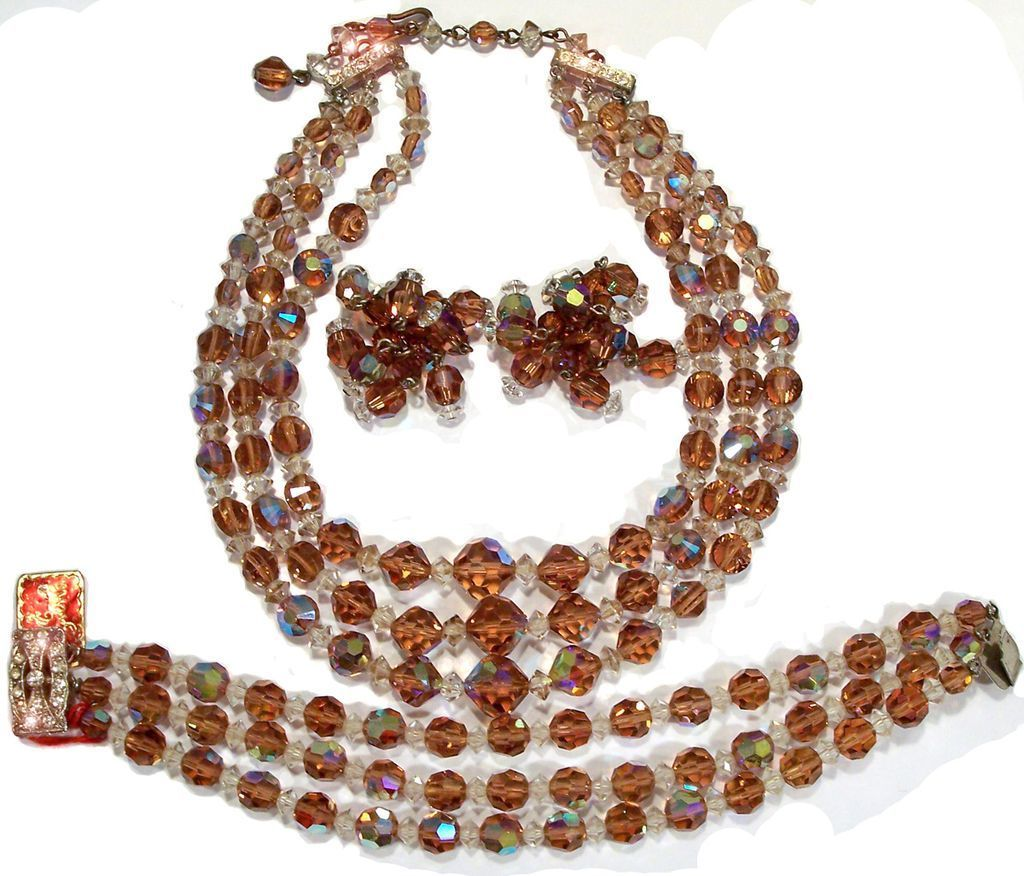 Laguna Topaz Colored Crystal Necklace Bracelet Earrings Parure