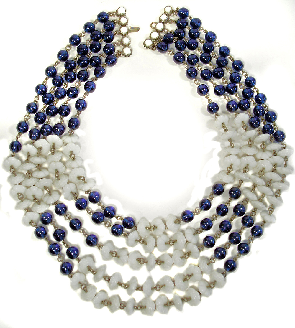 Vintage Blue & White 5 Strand Glass Necklace