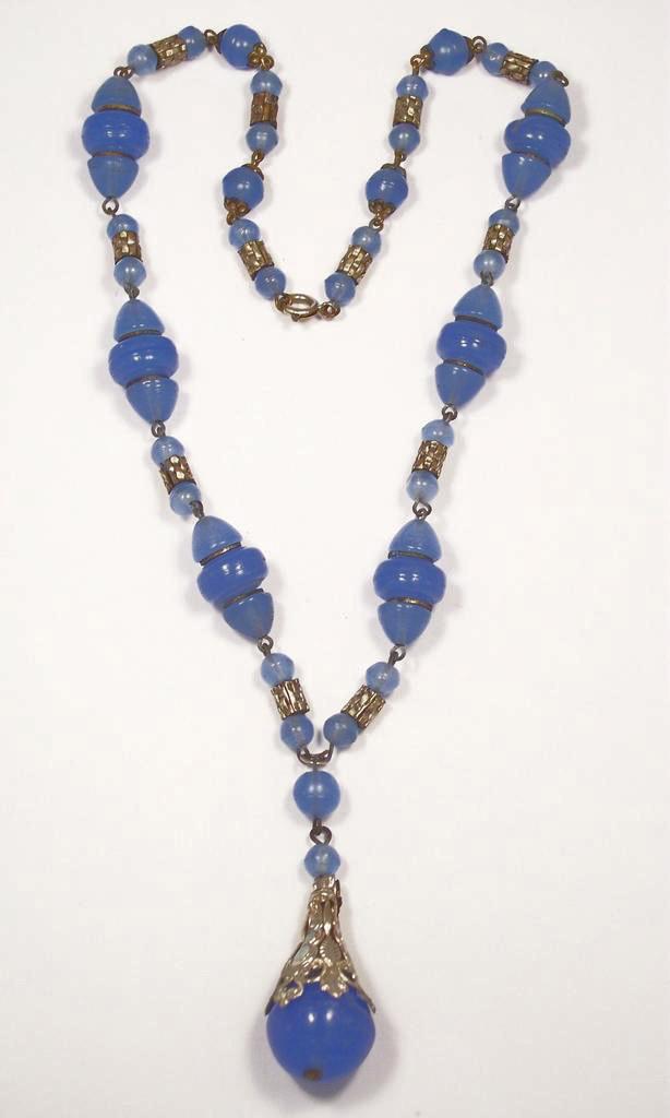 Vintage Czech Periwinkle Blue Art Glass Lavalier Necklace