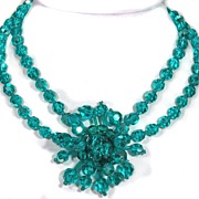Vintage French Teal Crystal Cluster Necklace
