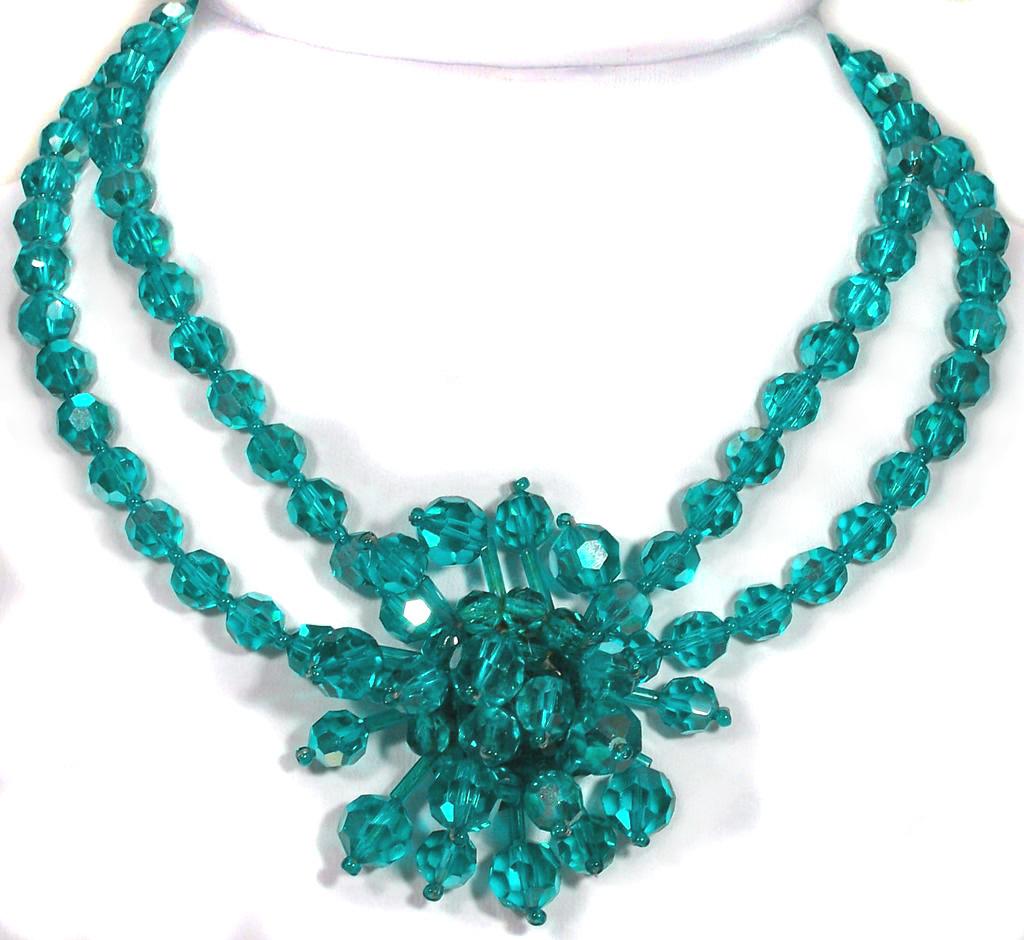 Vintage French Teal Crystal Cluster Necklace