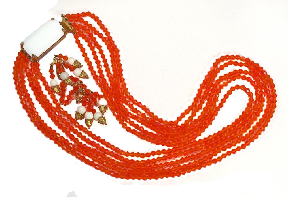 Vintage 5 Strand Orange Glass Crystal Necklace Set