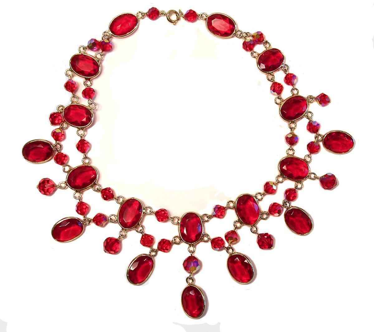 Stunning Open Back Red Glass Festoon Necklace