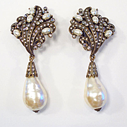Huge Heidi Daus Faux Pearl & Rhinestone Clip Earrings