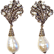 Huge Heidi Daus Faux Pearl & Rhinestone Clip Earrings
