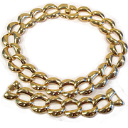 Vintage Gold Tone Chunky Chain Necklace Bracelet Set