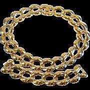 Vintage Gold Tone Chunky Chain Necklace Bracelet Set