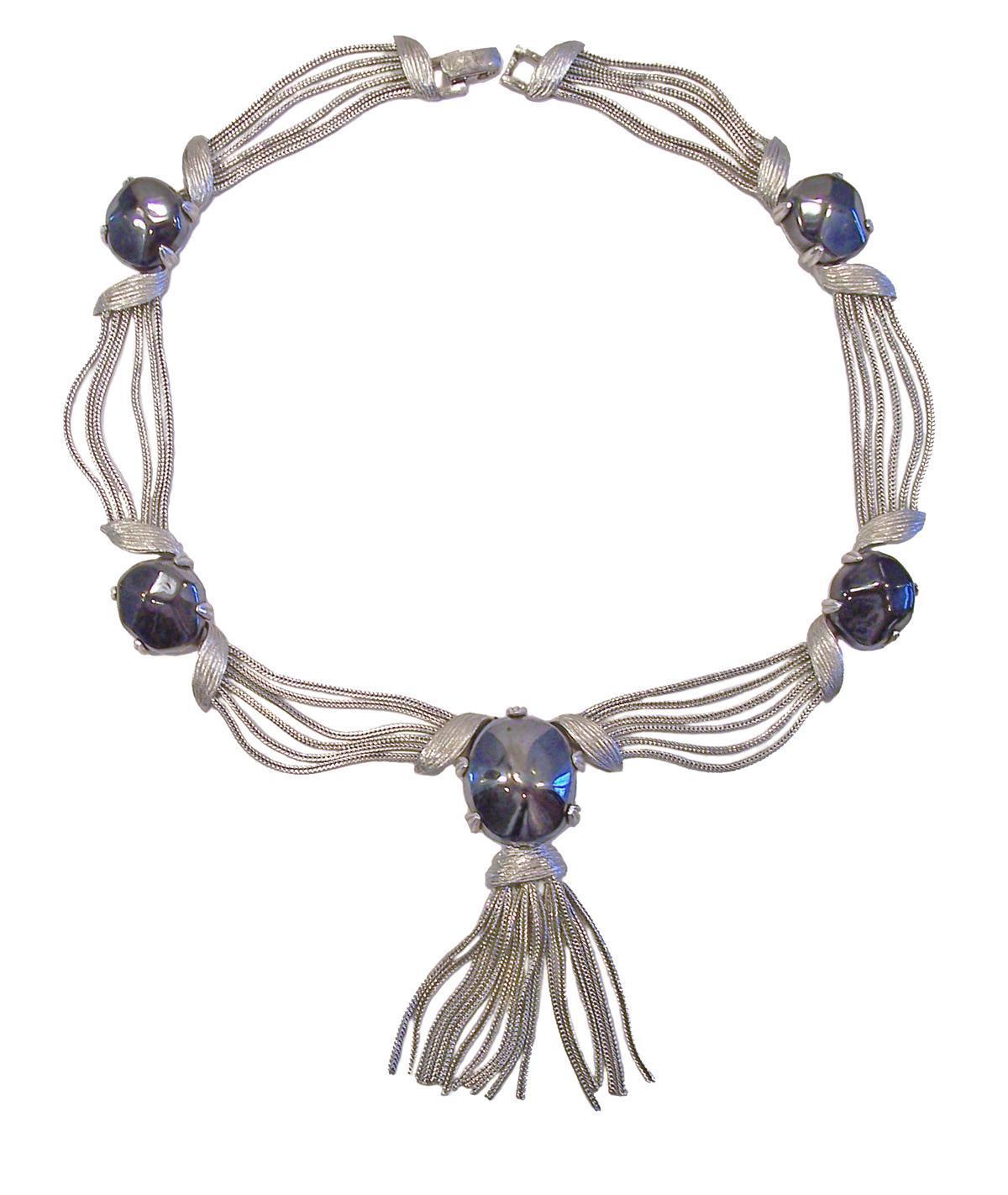 Vintage Hematite Glass Silver Tone Festoon Fringe Necklace