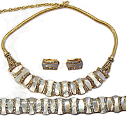 Pre WWII  Art Deco Esha Randel Mother of Pearl Rhinestone Gold Tone Necklace Parure