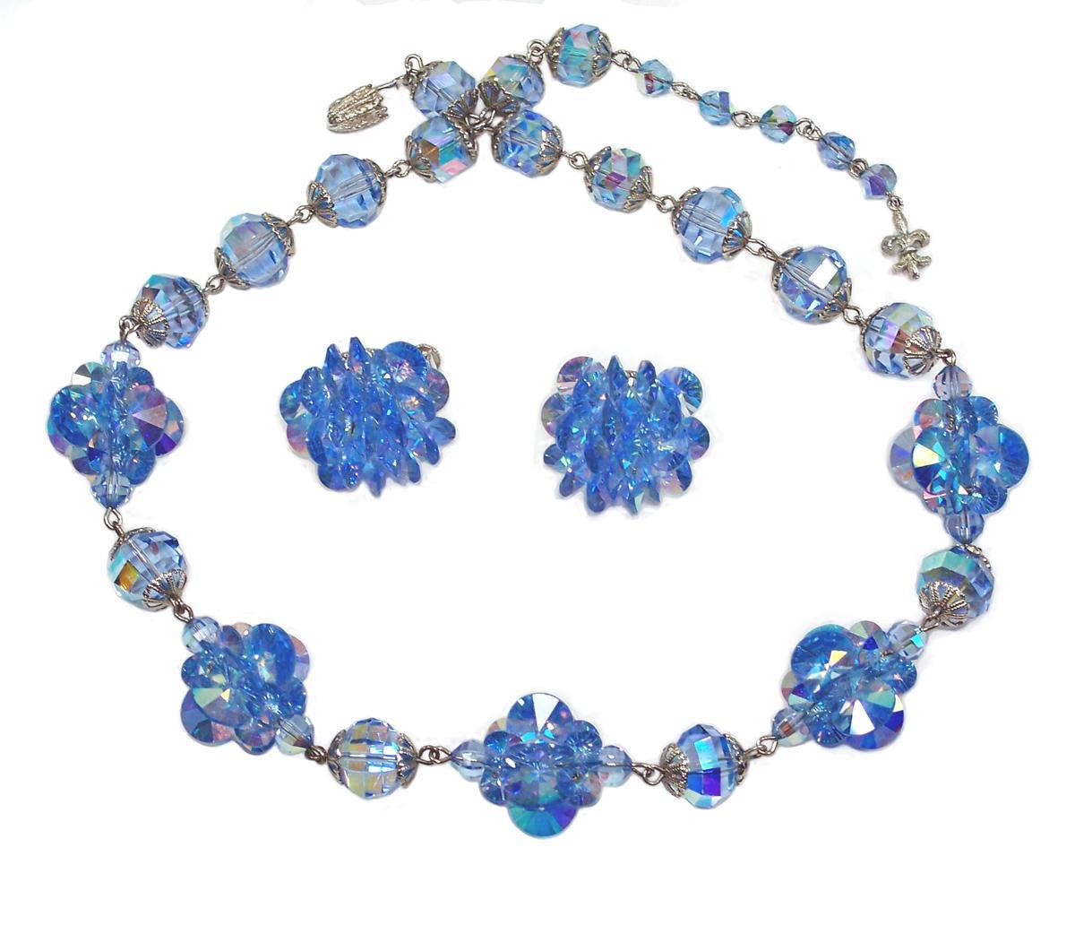 Vendome Light Sapphire Blue Rivoli Necklace Earring Demi