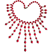 Glorious Vintage Art Deco Red Glass Bead Fringe Bib Necklace