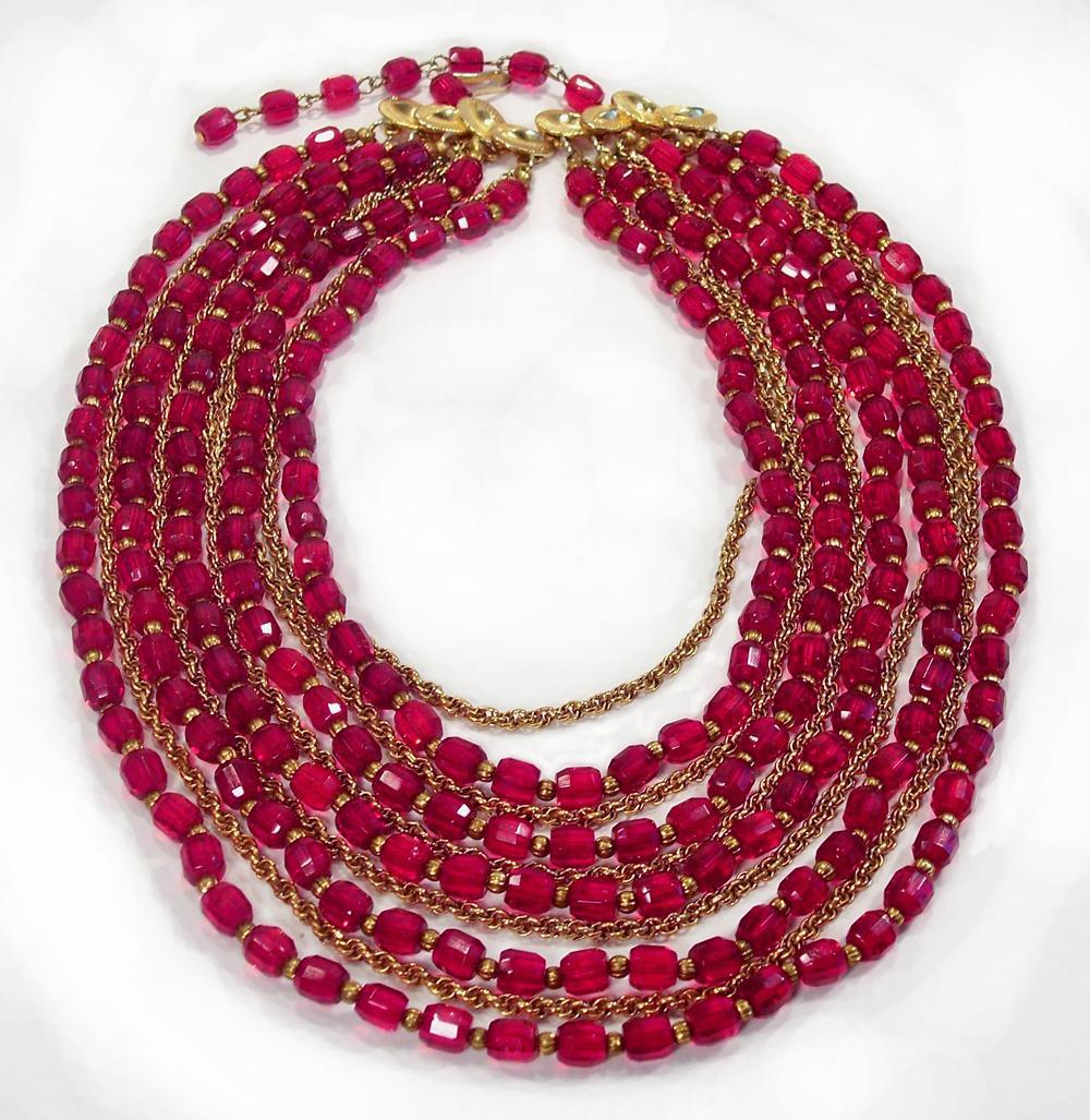 Vintage Castlecliff 10 Strand Red Crystal & Goldtone Necklace