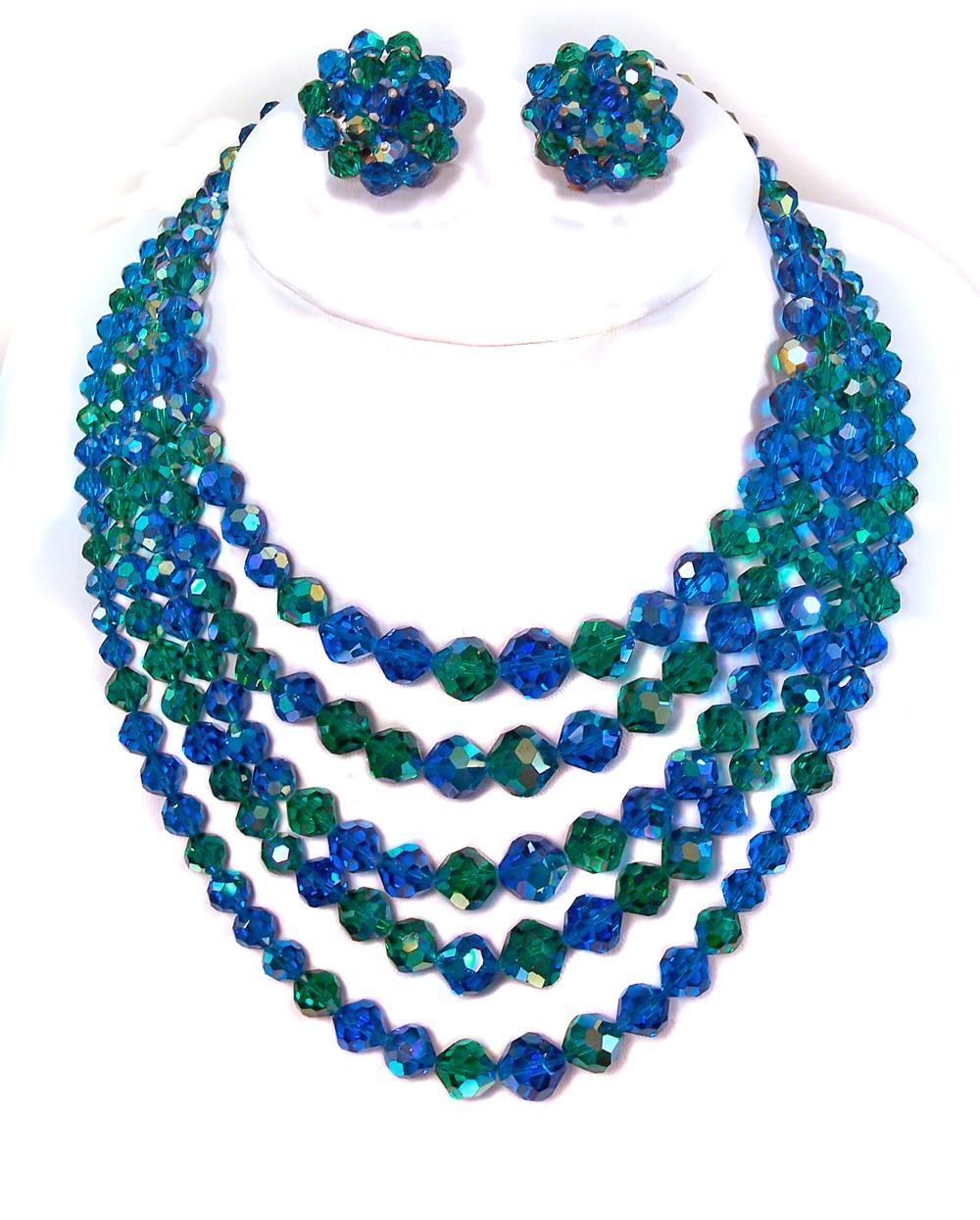 Vintage Capri Blue & Green 5 strand Swarovski Crystal Necklace & Earrings