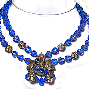 Vintage Blue Crystal & Rhinestone Necklace