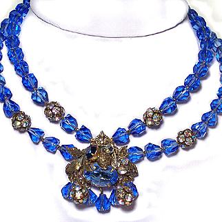 Vintage Blue Crystal & Rhinestone Necklace