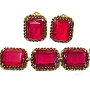 Vintage Ruby Red Glass Chunky Bracelet Earring Set