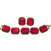 Vintage Ruby Red Glass Chunky Bracelet Earring Set