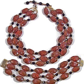 Topaz Amber colored Lampwork Art Glass Necklace Bracelet Demi