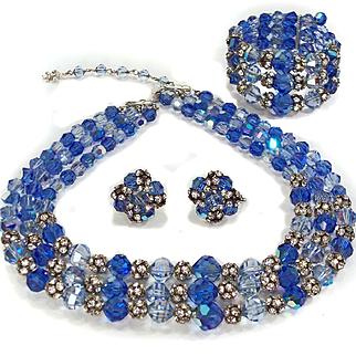 Vintage Vendome Blue Crystal & Rhinestone Necklace Bracelet Earrings Parure