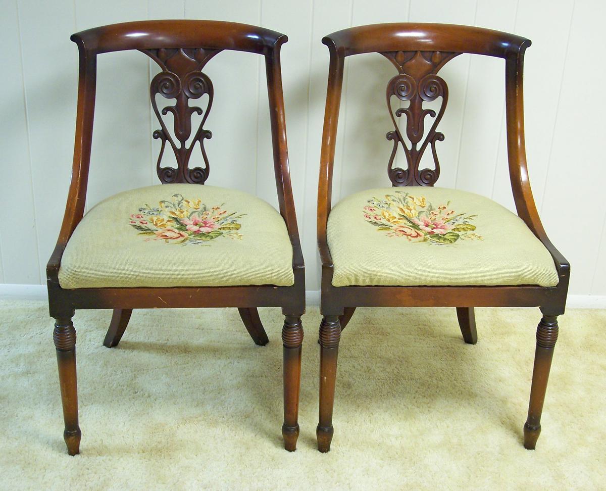 Antique Walnut Regency Chairs, Pair