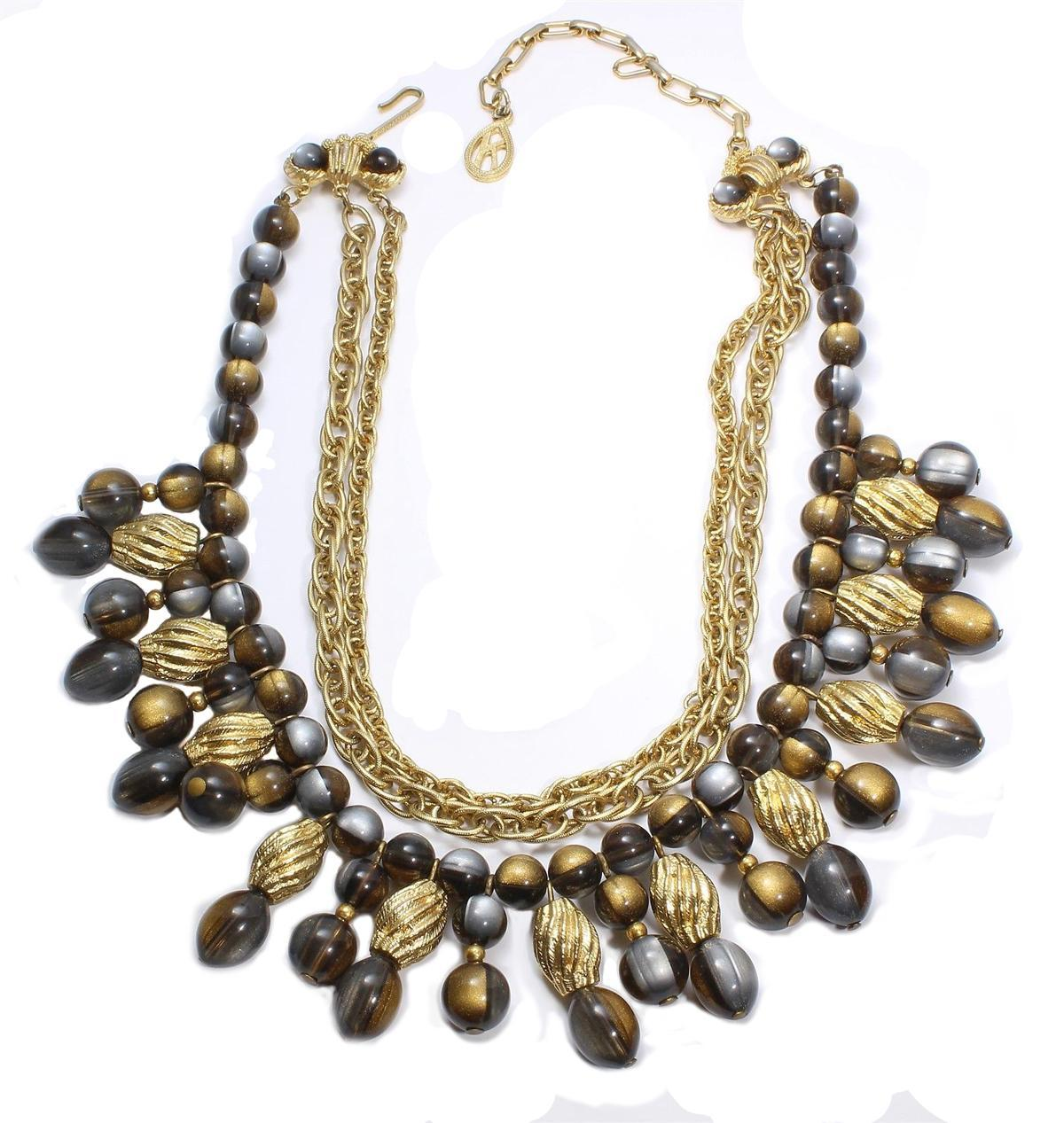 Vintage Gray & Gold Signed Kramer Bib Necklace