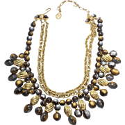 Vintage Gray & Gold Signed Kramer Bib Necklace