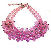 Vintage Pink Crystal Cluster Bib Necklace