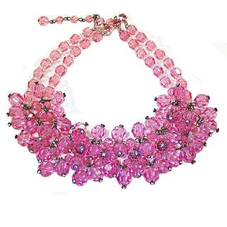 Vintage Pink Crystal Cluster Bib Necklace