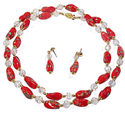 "32"" Red Venetian Millefiore Necklace & Earring Set"