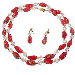 "32"" Red Venetian Millefiore Necklace & Earring Set"