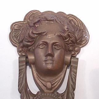 Large Brass Door Knocker Bacchus Dionysus