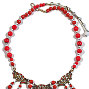 Old Vintage Art Deco Czech  Red & White Glass Enamel Necklace
