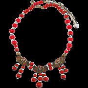 Old Vintage Art Deco Czech  Red & White Glass Enamel Necklace