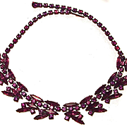 Unsigned Regency Japanned Amethyst Rhinestone Necklace